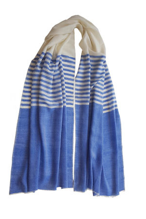 A beautifully soft pashmina wool scarf with stripes in blue and white. ASITA SAHABI online shop with International shipping.