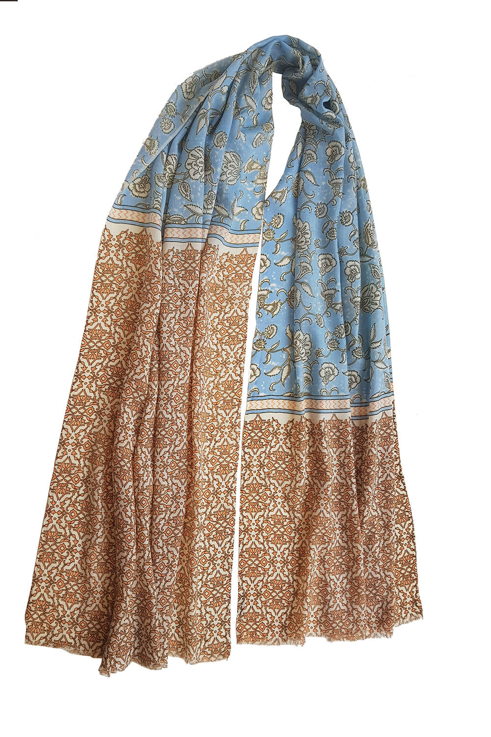 Pashmina YAZD with a floral print in orange and baby blue