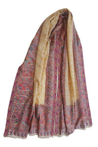 handwoven and embroidered Pashmina with a floral pattern in saffron yellow, pink and turquoise