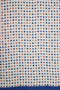 Pashmina MAYA with polka dots in medium blue, dark blue, orange and khaki on a white base