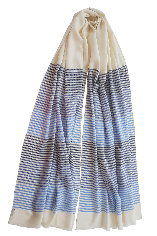 blue and white striped Pashmina MARGOT   100% cashmere