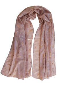 dusty pink scarf LIZ with copper colored leaves | 100% viscose