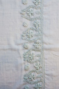light grey cashmere scarf with woolen embroideries