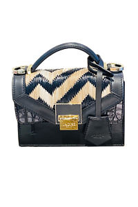 JADISE Sicily | small black bag with a zig zag pattern in black leather and raffia LILY