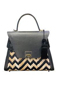JADISE Sicily | grosse schwarze Handtasche mit Zickzack-Muster aus Leder und Bast SABRINA