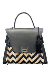 JADISE Sicily | big black bag with a zig zag pattern in black leather and raffia SABRINA