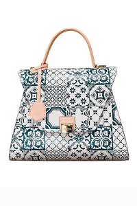 JADISE Sicily | large leather bag with tile print in white, green and rosé SABRINA