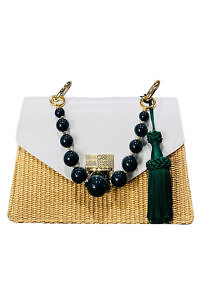 JADISE Sicily | green and white colored joyful bag in leather and raffia KATE