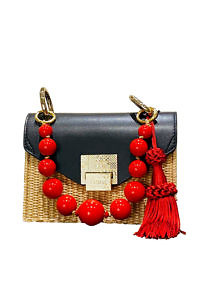 JADISE Sicilia | small black and red colored joyful bag in leather and raffia LILY