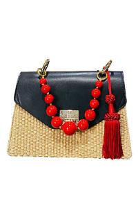JADISE Sicilia | schwarz-rote verspielte Handtasche aus Leder und Bast KATE