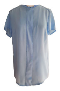 short sleeved blouse BIRGIT in matte light blue silk