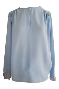 long sleeved blouse CLAUDIA in matte light blue silk