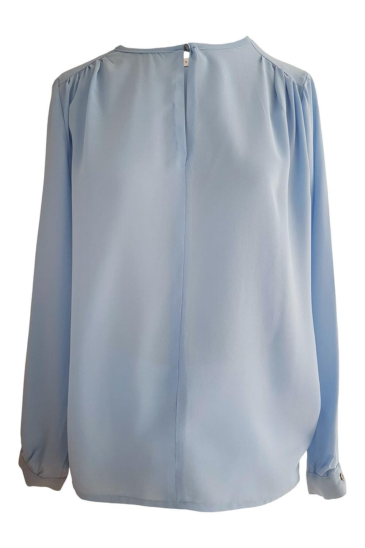 long sleeved blouse CLAUDIA in matte light blue silk