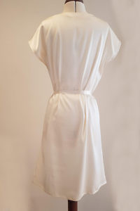 ASITA SAHABI ivory knee length shirt dress with pockets in silk satin