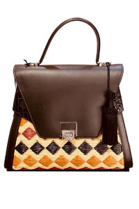 JADISE Sicily | big multi-colored and black raffia and leather bag SABRINA