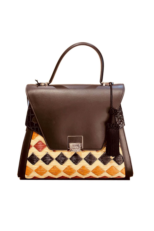 JADISE Sicily | big multi-colored and black raffia and leather bag SABRINA