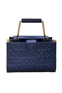 JADISE Sicily - medium sized marine blue leather bag with majolica pattern ADELE klein
