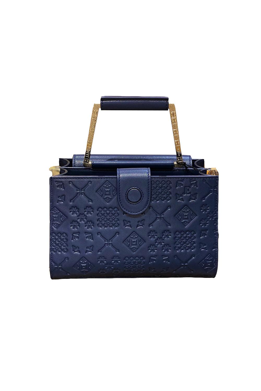 JADISE Sicily | medium sized marine blue leather bag with majolica pattern ADELE