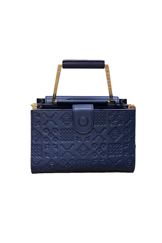 JADISE Sizilien   mittelgrosse marineblaue Handtasche aus Leder mit Majolika-Muster ADELE