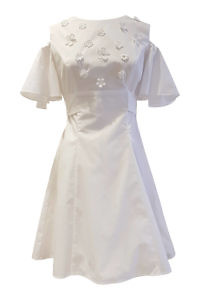 white cotton dress with floral embroideries and angel sleeves