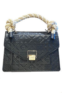 JADISE Sicily | big black leather bag with majolica pattern and raffia handle LOLA
