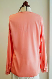 long sleeved secretary blouse CHANTAL in matte pink silk | coral red silk pussy bow blouse