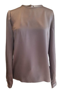 long sleeved blouse SOFIA in grey silk satin