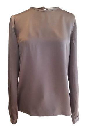 long sleeved blouse SOFIA in grey silk satin