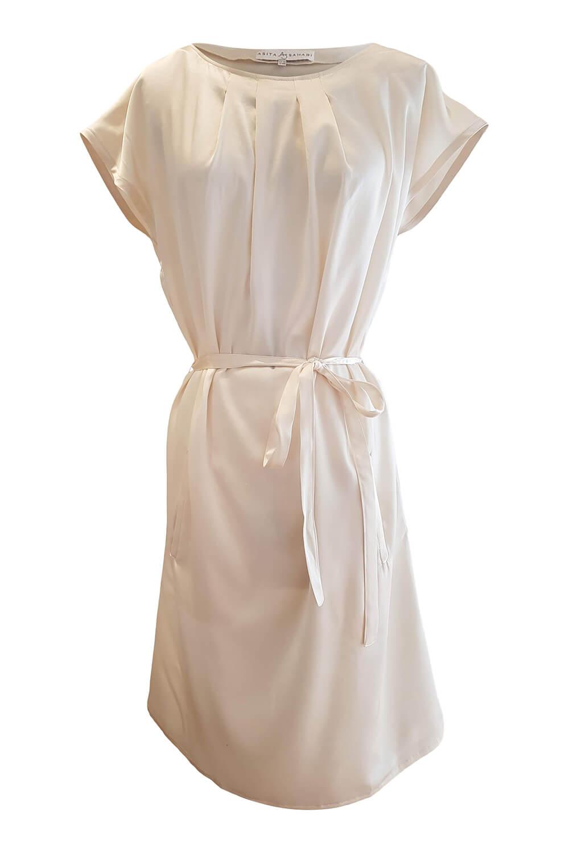 vanilla knee length shirt dress with pockets in silk satin MAIKE