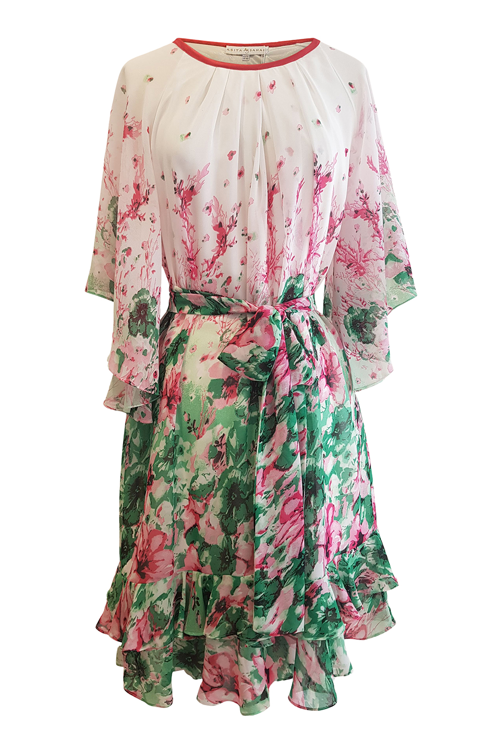 dress with ruches and angel sleeves in floral embroidered viscose crêpe TIZIANA