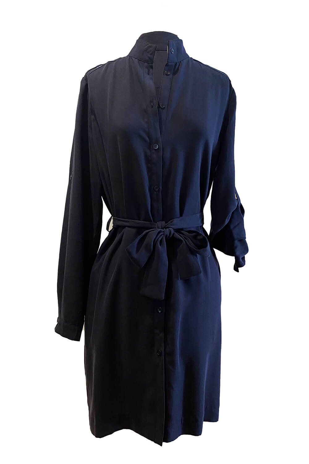 knee length shirt dress with long sleeves and a stand up collar in tencel fabric AIDA