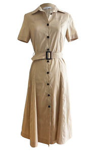 ASITA SAHABI shirt dress NAMIBIA in beige cotton and A-line