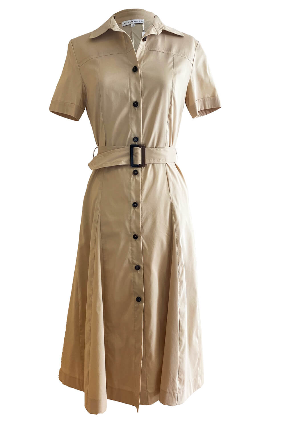 shirt dress NAMIBIA in beige cotton and A-line