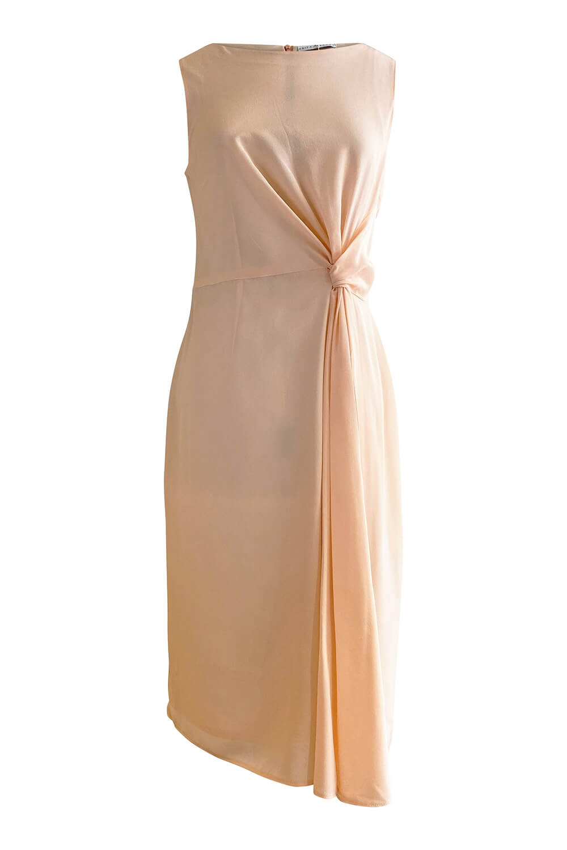 knielanges Kleid MAIKE aus hellrosa Seidencrêpe und A-Line
