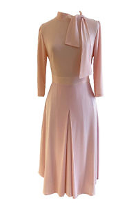 midi dress ROSA in light pink viscose crêpe and A-Line