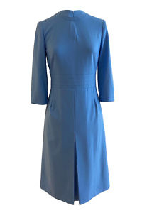 midi dress LALA in sky blue viscose crêpe and A-Line