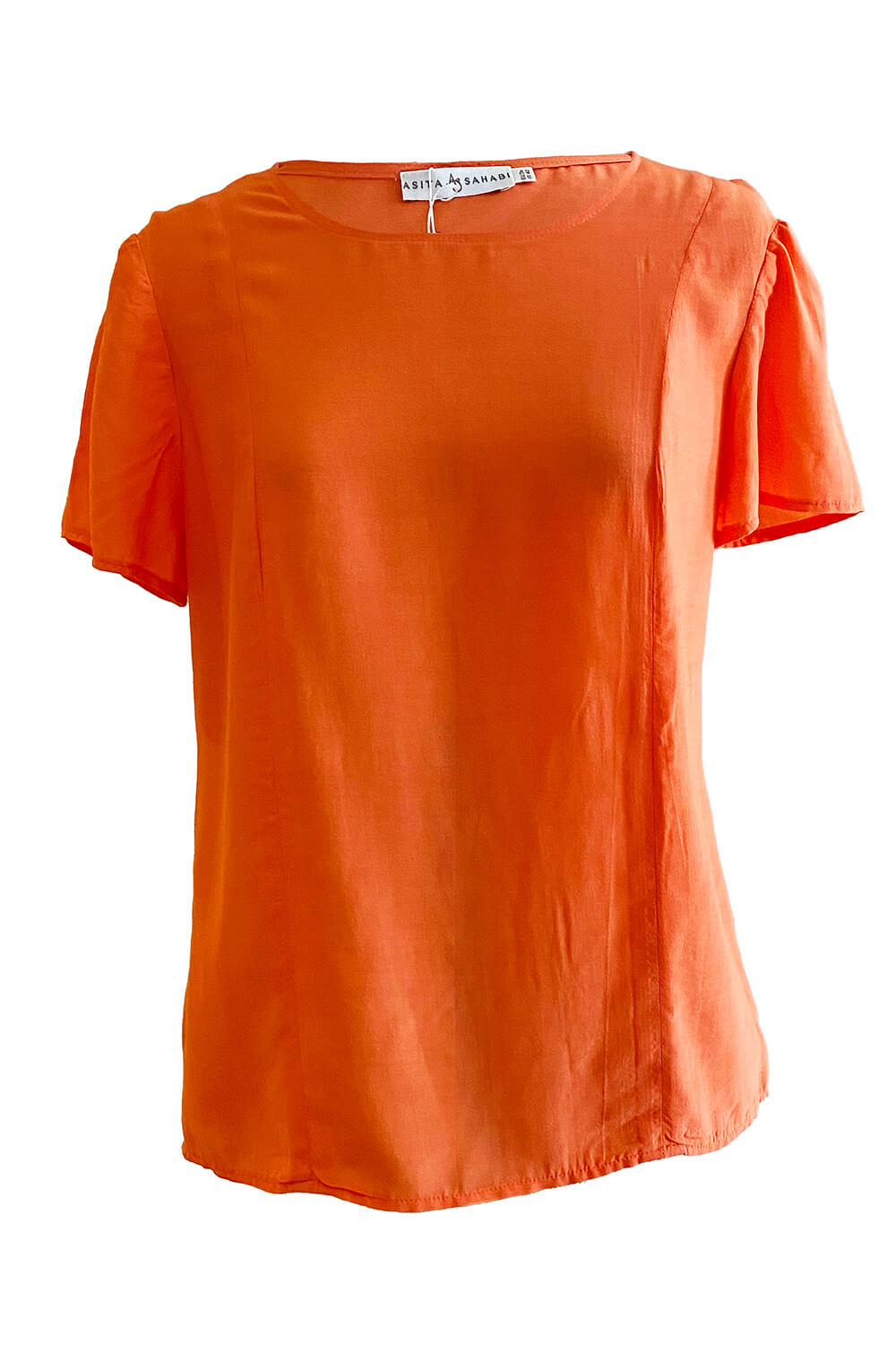 short sleeved blouse top ARANCIA in coral red viscose