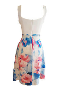 knee length strap dress GIOVANNA in floral silk chiffon and white jersey fabric
