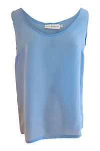 silk tank top AMINA in light blue crêpe de chîne