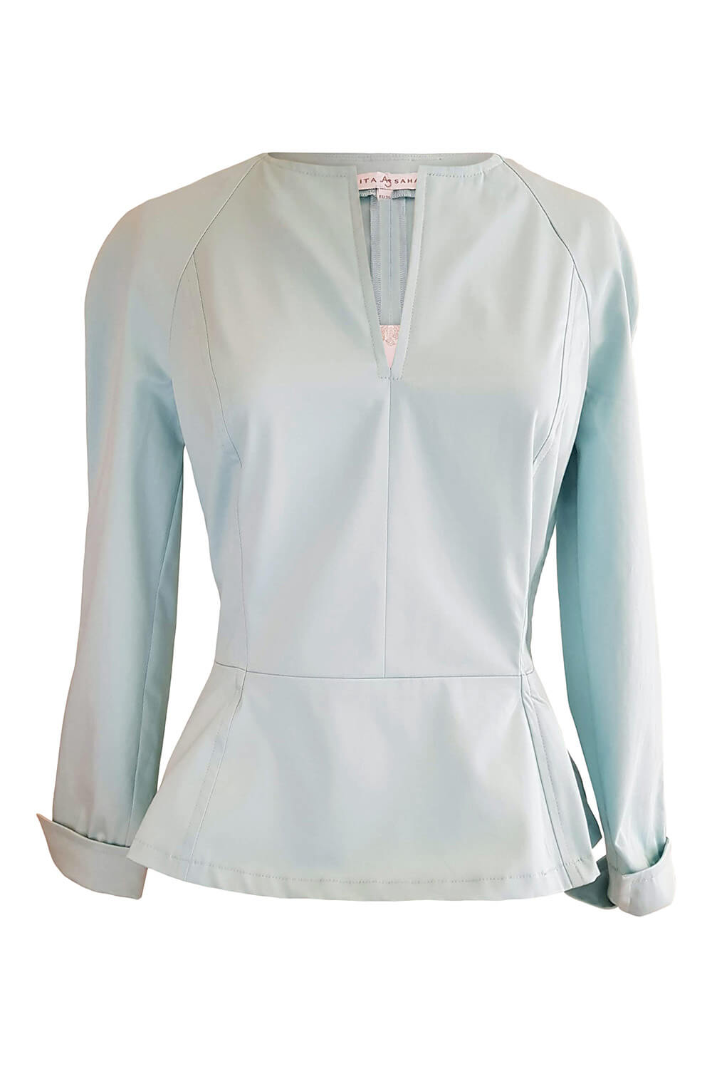 long sleeved blouse DAKOTA with peplum in turquoise cotton stretch
