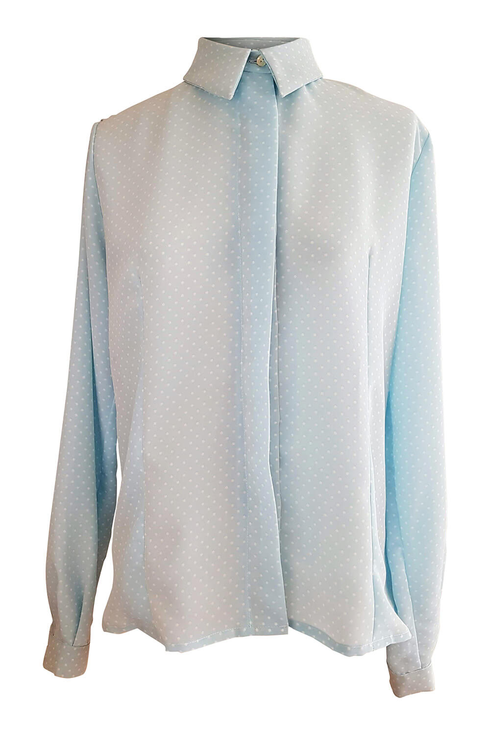 long sleeved blouse ENZA in baby blue viscose crêpe with polka dots