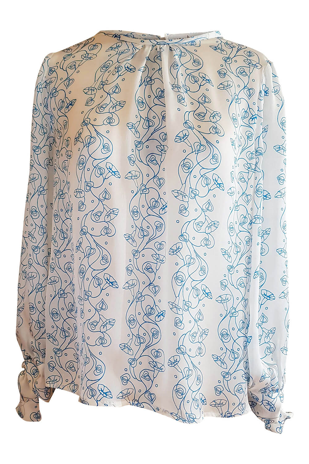 long sleeved blouse GRETA in floral printed white and blue silk satin