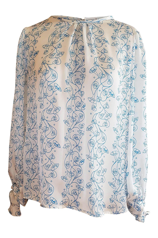 Langarmbluse GRETA aus floral bedrucktem weißem und blauem Seidensatin