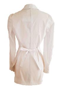 weiße, schmal geschnittene lange Bluse mit Schleife NELIA aus reiner Baumwolle