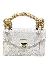 JADISE Sizilien | weiße Lederhandtasche mit Majolika-Muster und Bastgriff SINDY