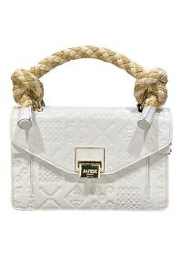 JADISE Sicily | white leather hand bag with majolica pattern and raffia handle SINDY