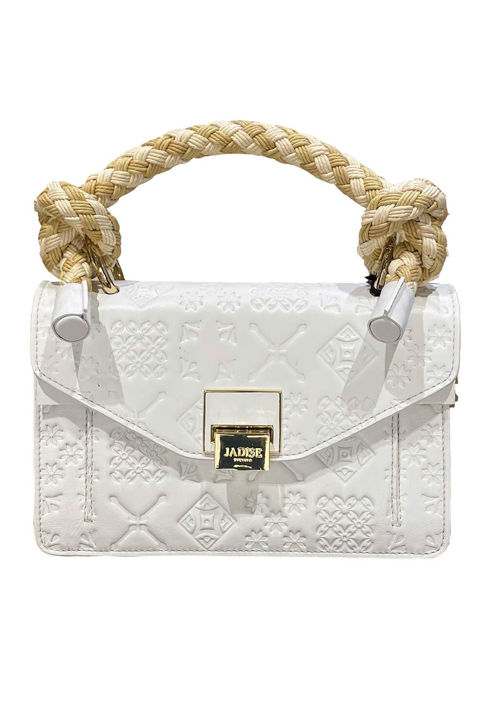JADISE Sizilien   kleine weiße Lederhandtasche mit Majolika-Muster und Bastgriff SINDY