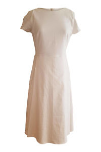 ivory linen dress in midi length NATALIE