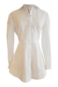 white slim fitted long blouse with a bow NELIA in pure cotton