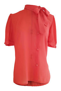 coral red silk chiffon blouse with short sleeves and a bow GIULIA